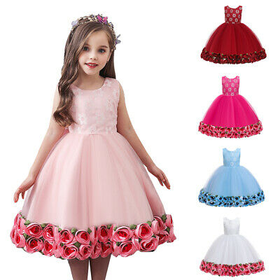 Girls Bridesmaid Dress Baby Rose Flower Kids Party Wedding Dresses Princess