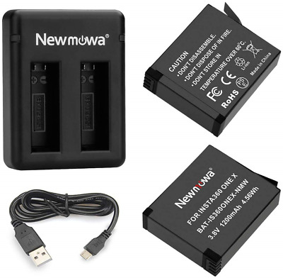 Newmowa Replacement Battery and Dual USB Charger for Insta360 ONE X Battery and