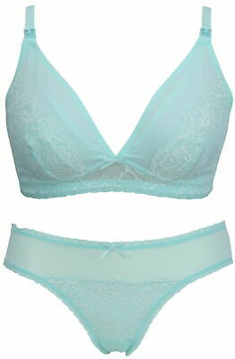 Nursing bra 38C with matching Brazilian Knickers size 14 Ex Mothercare Green