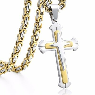 Byzantine Chain Cross Pendant Necklace Gold Silver Stainless Steel Men's Jewelry