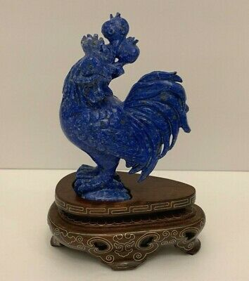 Antique Chinese Carved Lapis Lazuli Rooster Sculpture on Wood Base