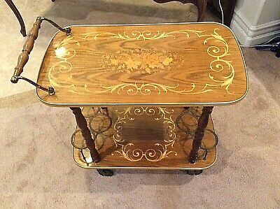 Vintage Italian Marquetry Cart / Bar Inlay Colorful Console Wine Rack Server