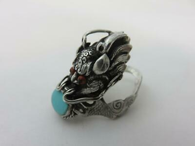 Lovely Antique CHINESE Silver & Turquoise DRAGON RING Foo Dog TIBETAN