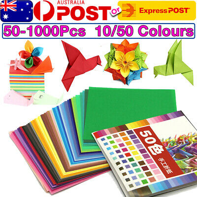 15X15cm 50/100X Square Colored Origami Folding Paper DIY Crafts Tool 50 Color OZ