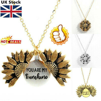 """You Are My Sunshine """"Open Locket Sunflower Pendant Necklace Women's Gifts RW"""