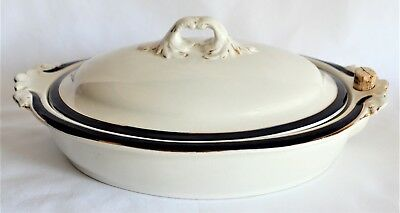 Booths Silicon Art Deco China Blue With Gold Trim Warming Plate With Cover Rare