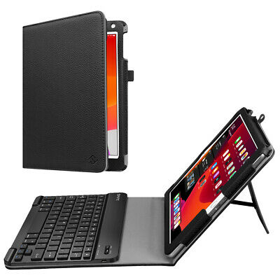 "For Apple iPad 10.2"" 7th Gen 2019 with Bluetooth keyboard + Leather Case Cover"