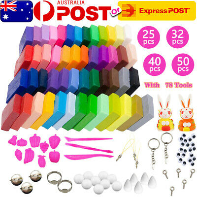 50Pcs Craft Polymer Clay Modelling Moulding DIY Toy Sculpey Fimo Block Oven Bake