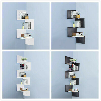 3/5 Tier Floating Wall Shelves Corner Shelf Storage Wood Display Bookcase Decor