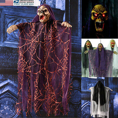 US Halloween Electric Voice Hanging Skull Skeleton Ghost Horror Props Decoration