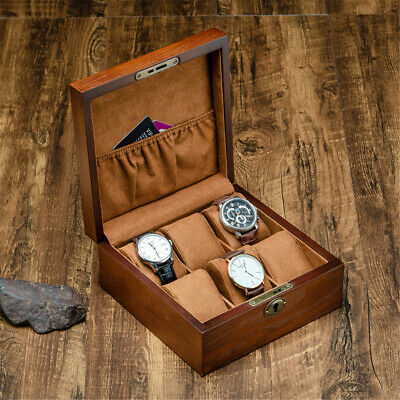 Retro 6 Slot Wooden Display Watch Box Bracelet Storage Collection Case With Lock