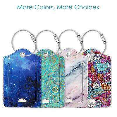Luggage Tags Privacy Cover ID Label Stainless Steel Loop For Travel Bag Suitcase
