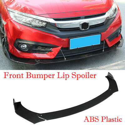3Pcs Universal Glossy Black Car ABS Front Bumper Lip Chin Spoiler Wing Body Kit