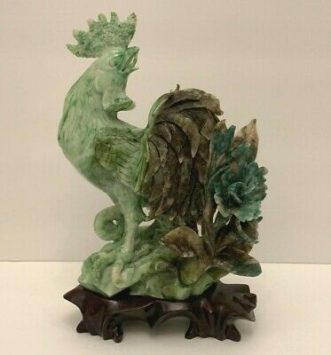 Superb Antique Chinese Carved Natural Dushan Jade Rooster Sculpture on Wood Base