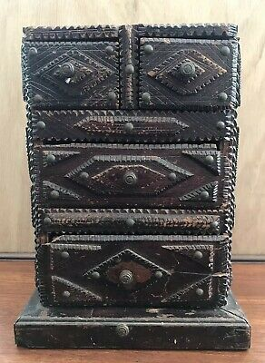 Antique 19th Century, Tramp Art Chest Drawers Jewllery, Collectors Box