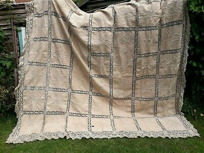 Antique Hand Embroidery Lace Edwardian 1910 Bedspread Linen Stunning Museum