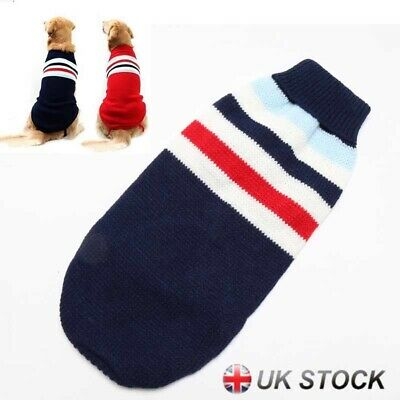 Pet Dog Cat Winter Warm Jumper Sweater Clothes Puppy Knitwear Knitted Coat UK
