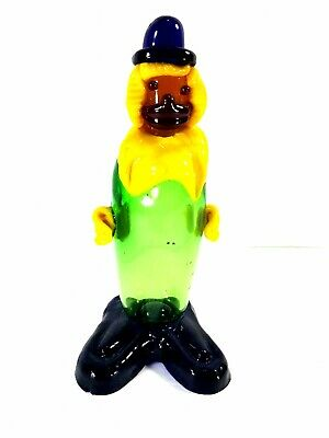 "Murano Art Glass 9"" Hand Blown Clown Figurine"