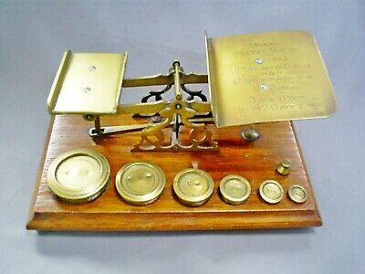 Fine Antique Victorian Brass Postal/Letter Scales & Weights (7) On Mahogany Base