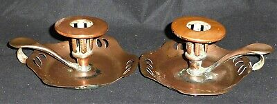 Stunning Pair of Antique Art Nouveau Go-to-Bed Copper Candlesticks