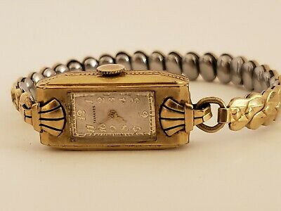 Antique Working 1930's Tavannes Swiss Fancy Art Deco 10K R.G.P Gold Ladies Watch