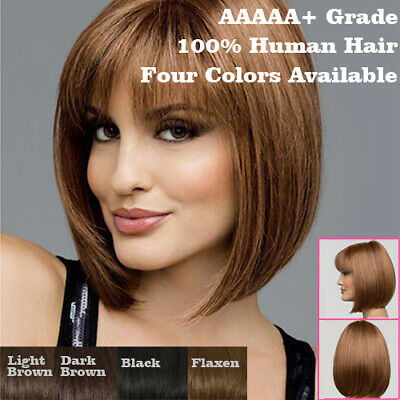 ✅Womens Brown Ombre Natural Short Straight Hair Wig Ladies Bob Cosplay Full Wigs