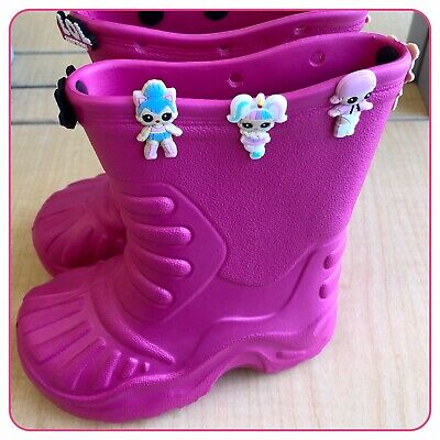 Girls Pink Rubber Wellies Boots Shoes + 10 LOL Doll Charms - Kids Size 1 EU 33