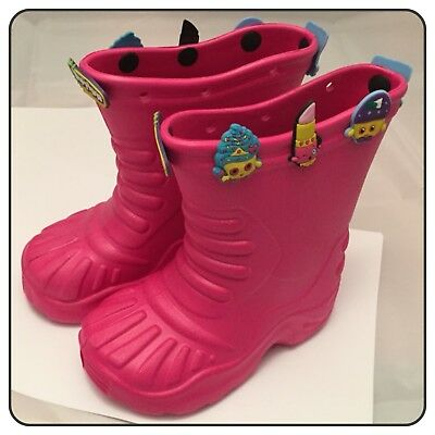 Kids Size 8 EU 26 Girls Pink Rubber Wellies Boots Shoes 10 Shopkins Charms