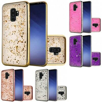 Samsung Galaxy S9 Plus Glitter Chrome Frozen Flakes Cute Design Case Cover