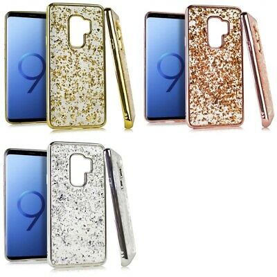 Samsung Galaxy S9 Plus Glitter Flakes Chrome Cute Shiny Case Cover