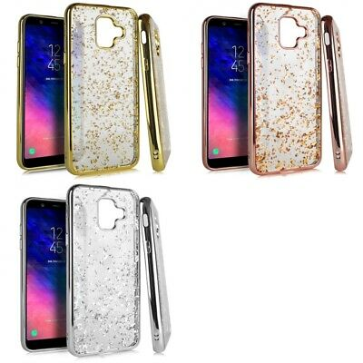 Samsung Galaxy A6 2018 Glitter Flakes Chrome Cute Shiny Case Cover