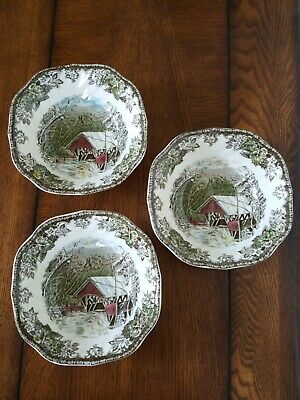 3 Johnson Brothers Friendly Village Square Cereal Bowls Covered Bridge