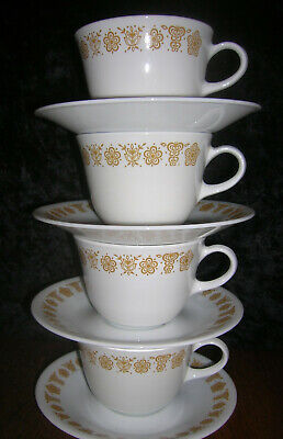 Vintage Corelle Corning Butterfly Gold ~ 4 Each Mug Cup & Saucer ~ 2 Avail.~EUC