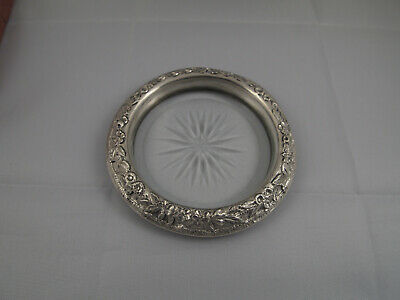 "S. KIRK & Son Co. 4"" FLORAL REPOUSSE Sterling Silver 925 & Cut Glass 24 Coaster"