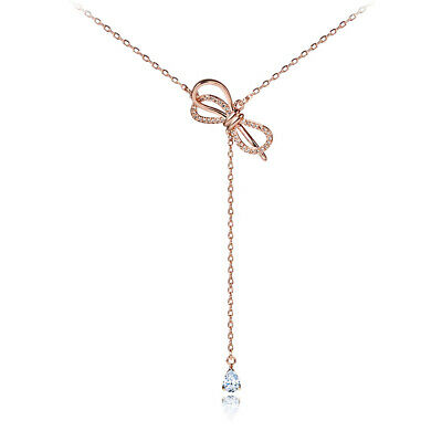 18K Gold Plated CZ Bowknot Beautiful Pendant Necklace for Women Jewelry Gifts