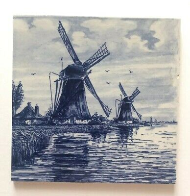 "DELFT Vintage Antique Ceramic Hand Painted Windmill Blue Tile 6"" Holland Hartog"
