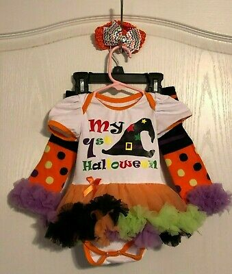 US Infant Baby Girls Sz S 3-6 M My First Halloween Outfit TUTU Socks 3pc Outfit
