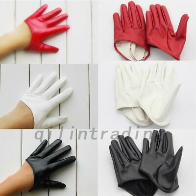Black Red White Faux Leather Women Five Finger Half Palm Party Gloves Mitten AU