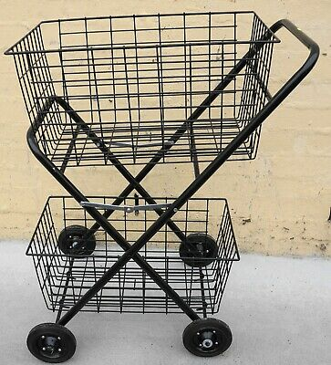 Two Basket Shopping Trolley, 2 Tier Trolley, Collapsible Double Basket