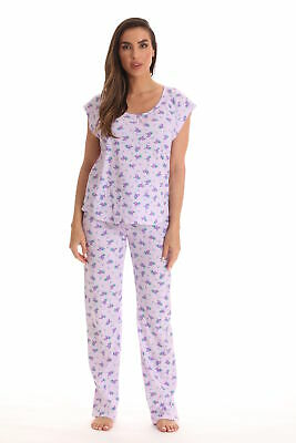 Dreamcrest Pajamas for Women Cotton PJ Pant Set with Cap Sleeves