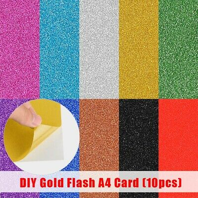 10Pc DIY Glitter Paper A4 Sheets Sticky Self Adhesive Arts Craft Sticker Xmas De