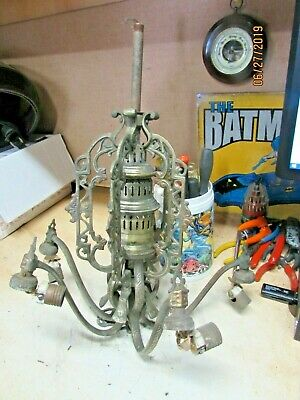 Early Silver Nickel Plated Brass 5 Arm Light Fixture Ornate Pairpoint ?? Pics
