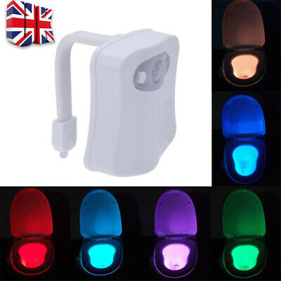 LED Toilet Bathroom Night Light PIR Motion Activated Seat Sensor 8Color Chang X