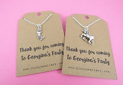20 x Girls Party Bag Thank You Personalised Card Necklace - Unicorn or Mermaid