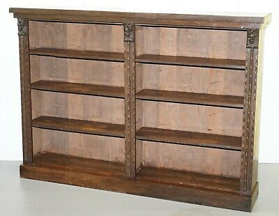 Large Solid English Oak Library Study Bookcase With Carved Lions Heads Rare Find