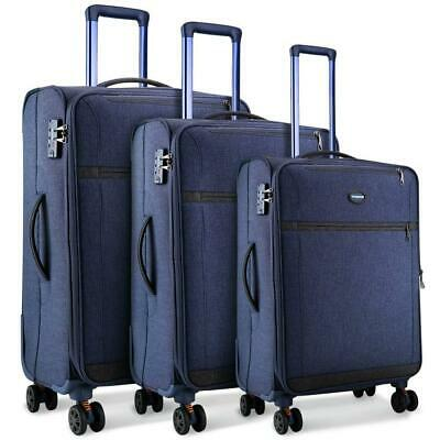 SHOWKOO Luggage Sets Expandable 3 Piece Softshell Lightweight & Durable Blue