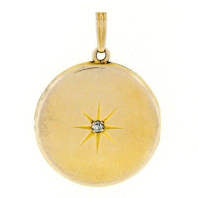 Antique Victorian 14k Gold Etched Star Diamond Double Sided Round Locket Pendant