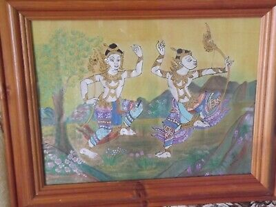 Batik signed framed picture of tribes men, size 16 x 20 inches