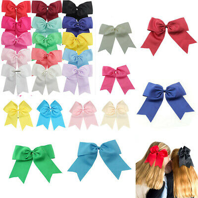 """2Pcs Clips With Hair Ribbon Large Cheer Cheerleader Bows Alligator Bow Party 8"""""""