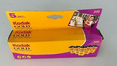 Kodak Gold 200 Speed Film Camera 24 Exp. 5 Rolls Pack New Expired 33 MM